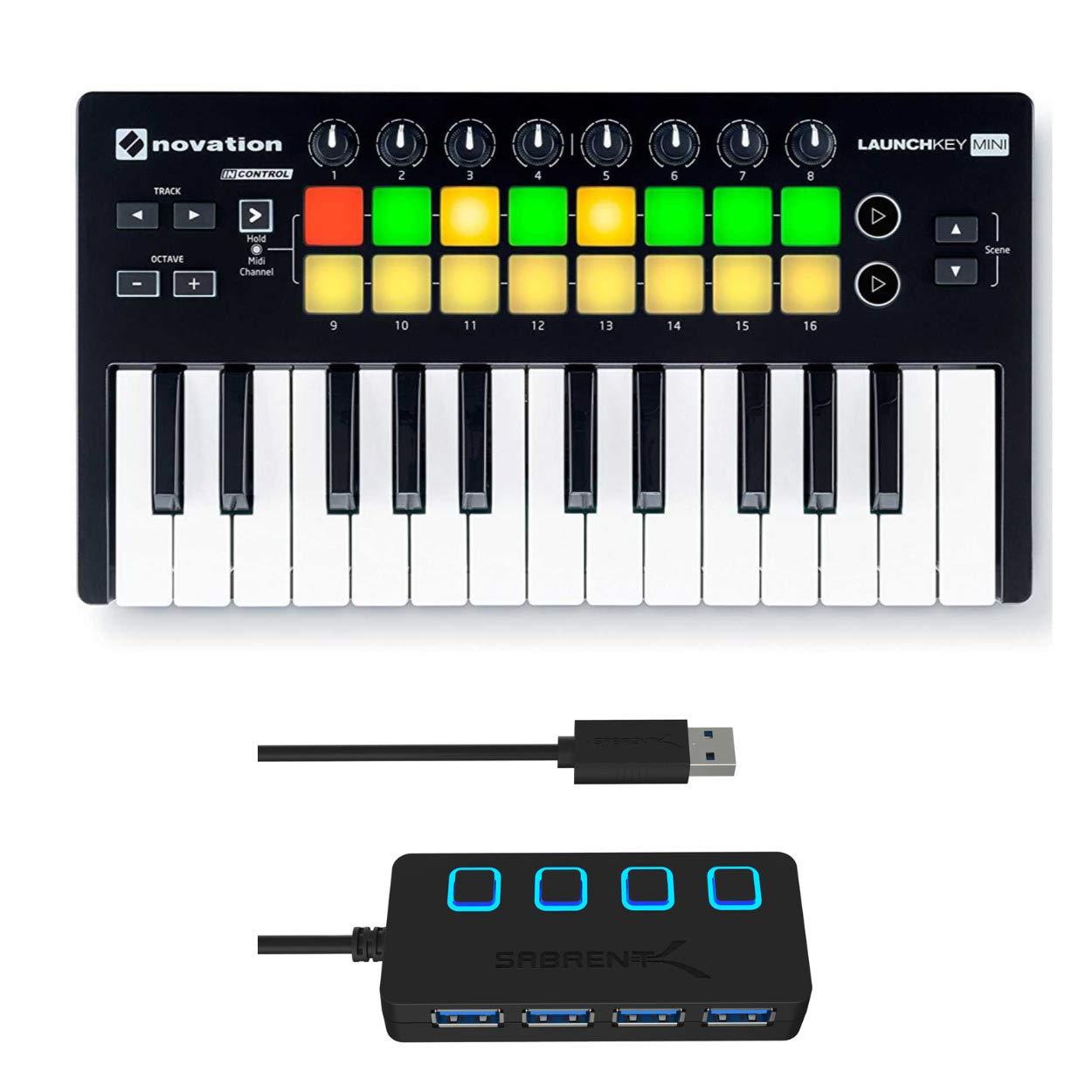 Novation Launchkey Mini 25-Note MK2 USB Keyboard Controller with 4-Port 3.0 USB HUB by Novation