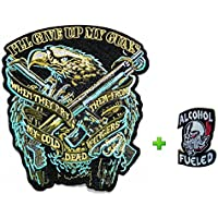 Really Rare!! Punk Fashion Cloth Attached Adhesive Motorhead Iron On/sew on Large Size Patch Eagle w/ Gun & Small Skull Helmet Head Embroidered Biker Jacket