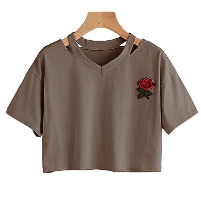 Été Casual Lâche Rose Broderie Blouse T-Shirt Sweatshirts Chemisier Polos Tops Blouse Pullover Femme Chemisiers Col V Manches Courtes Crop Tops Shirts