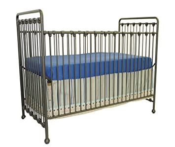 Babyu0027s Dream Willa Convertible Metal Crib In Pewter Toddler Guard Rail  Included