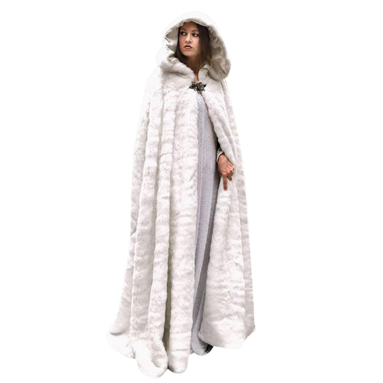 Reokoou Flannel Long Cape for Women Winter Plush Warm Shawl Solid Colour Hooded Coat Sleeveless Blouse Soft Long Tops White by Reokoou