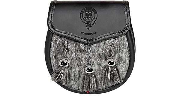 Sutherland Semi Sporran Fur Plain Leather Flap Scottish Clan Crest
