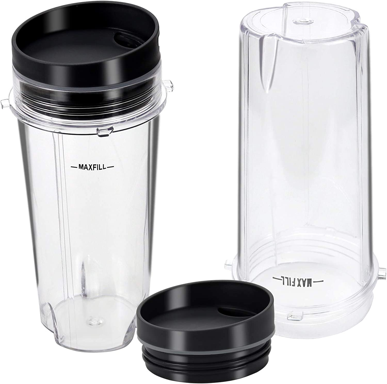 16oz Blender Replacement Cup with 2 Sip Lids Set Compatible with Nutri Ninja BL660, BL770, BL810, BL780, BL740 Series Blender by Fetechmate (Pack of 2)