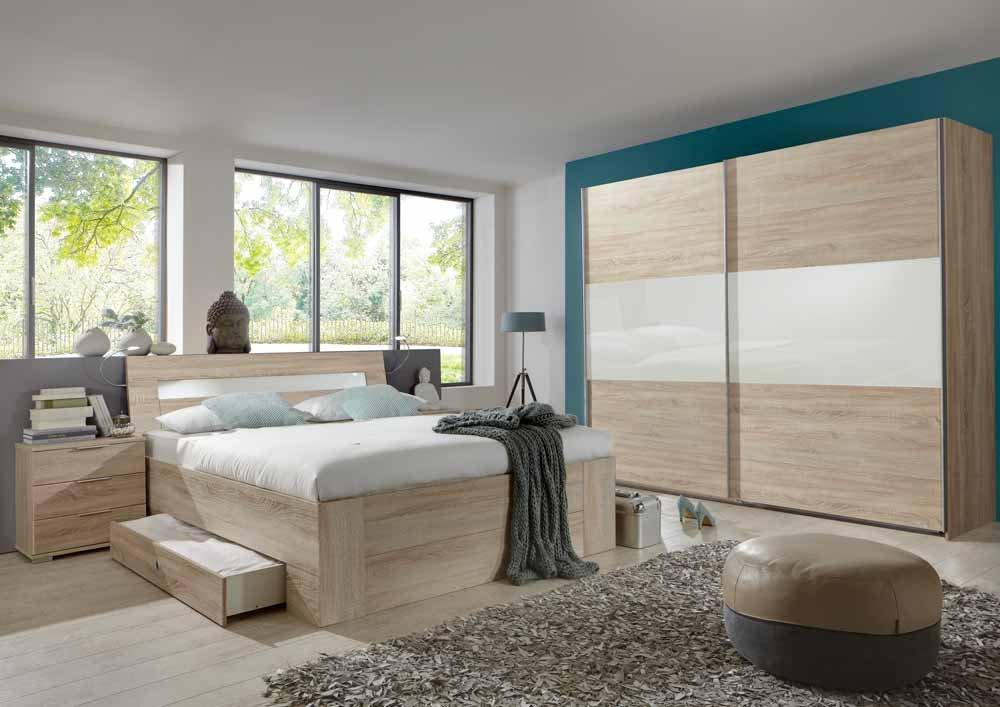 4-tlg-Schlafzimmer in Eiche Sägerau-NB mit Abs.in weiß, Schwebetürenschrank B: 270 cm, Bett mit Schubkästen B: 180 cm, 2 Nachtschränke B: 52 cm