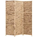 MyGift 3-Panel Deluxe Woven Brown Seagrass Room Divider