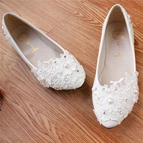 perla de la blanco mujeres del blancas de a mano JINGXINSTORE novia cordón las de Zapatos hechos wCc5qx7P