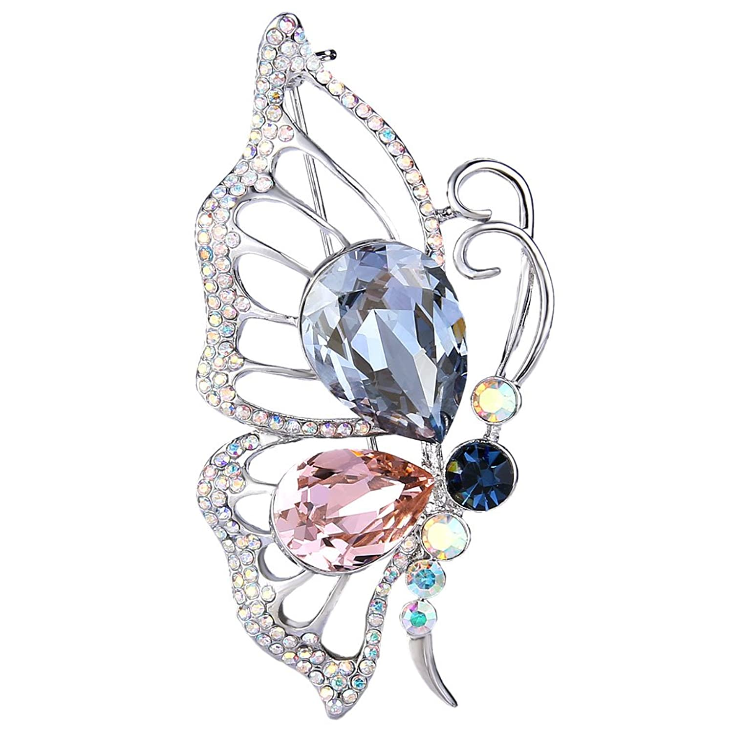e7e60eb38 EleQueen Women's Silver-tone Flying Butterfly Brooch Pin Multicolor Adorned  with Swarovski Crystals