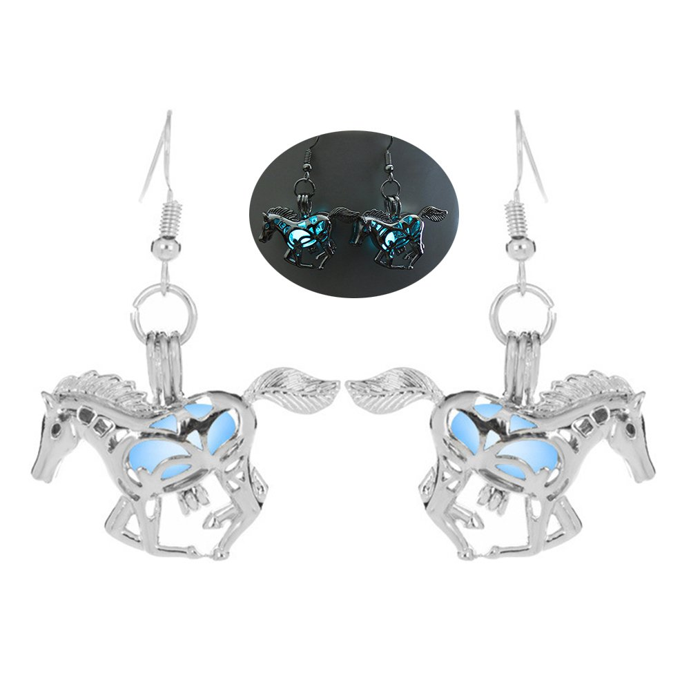 angel3292 Clearance Deals Creative Women Jewelry Party Luminous Hollow Horse Pendant Ear Hook Earrings