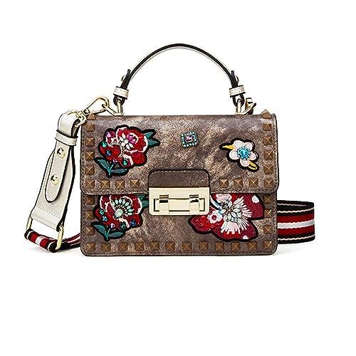 HWYP Mode handtaschen-niet stickerei blume stickerei und diamanten kleine quadratische tasche damen umhängetasche umhängetasc
