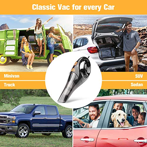 Car Vacuum Cleaner Portable High Power Handheld Corded Vac DC 12V 4000PA for Quick Car Cleaning with Carry Bag