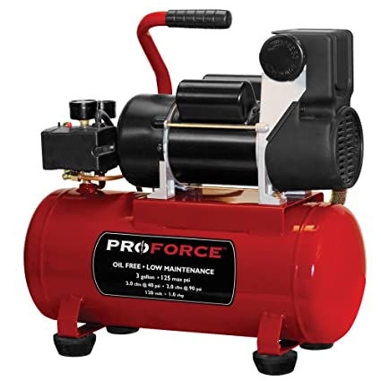 Pro-Force vpf1080318 3-Gallon sin aceite compresor de aire con kit