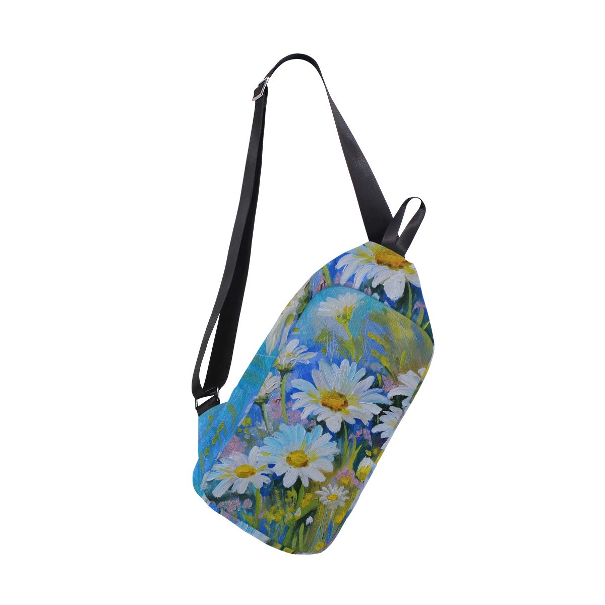 TFONE Watercolor Art Daisy Floral Crossbody Bag Lightweight Chest Shoulder Messenger Pack Backpack Sling Bag