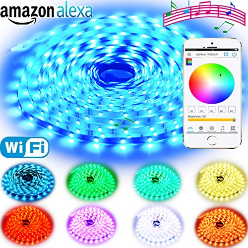 LED Strip Lights Alexa Compatible Full Kit 5M 16.4ft RGB Wifi Smart Phone Wireless Control 12V 150LEDs 5050 Dimmable Work with Android, IOS APP, IR Remote Controller and Google Home (Sync with Music)