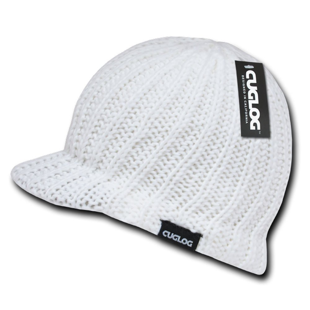 One Size Ribbed Jeep Caps Visor Beanie by Cuglog