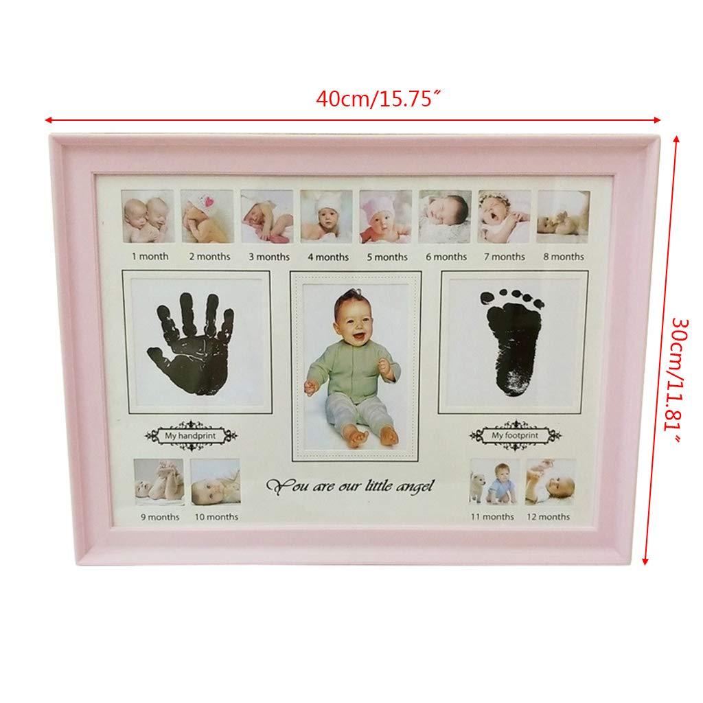Youliy Baby Cadre photo avec empreinte de pied et de main de b/éb/é avec tampon dencre blanc