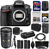 Nikon D810 Digital SLR Camera Body with 24-70mm f/2.8G Lens + 64GB Card + Case + Batteries & Charger + Grip + Tripod Kit