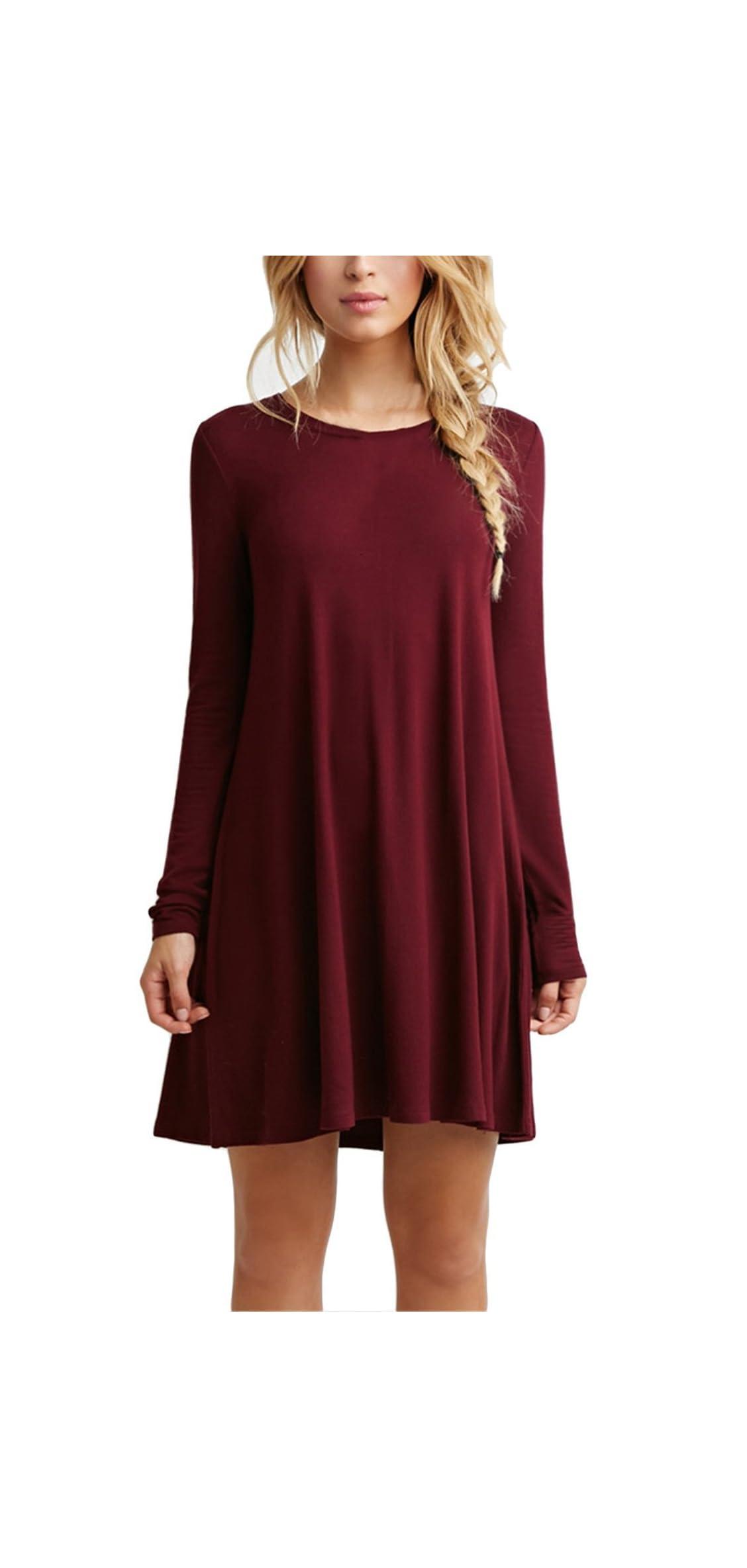 Women's Casual Plain Fit Flowy Simple Swing T-shirt Loose