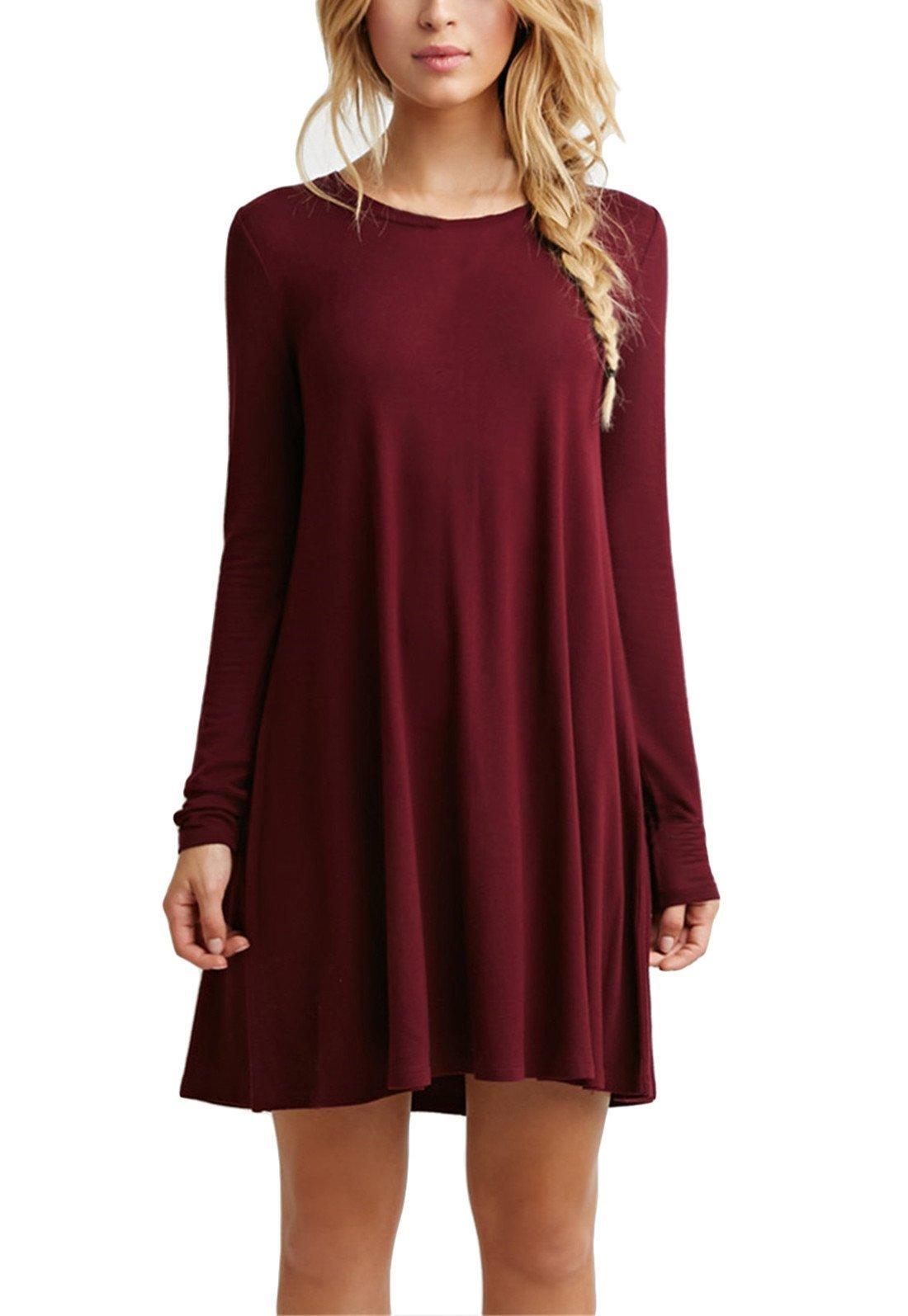 Casual Burgundy Dress Amazon Com