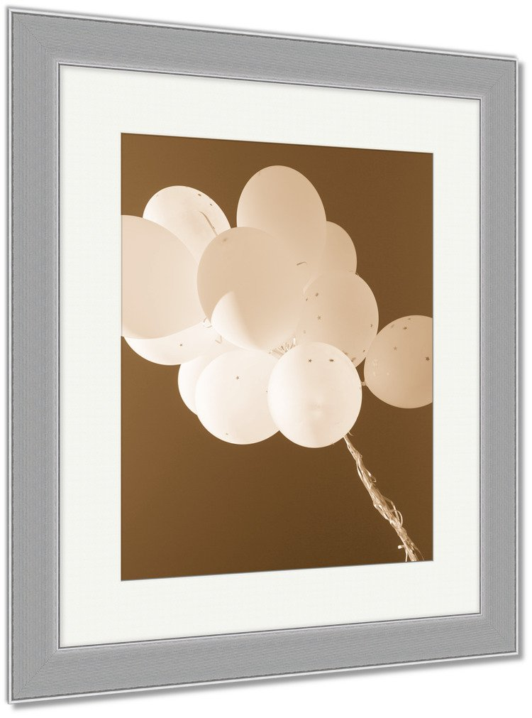 Ashley Framed Prints Holidays Birthday Party And Decoration Concept Close Up Of Inflated White, Wall Art Home Decoration, Sepia, 40x34 (frame size), Silver Frame, AG5842402 by Ashley Framed Prints