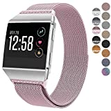 For Fitbit Ionic Bands, hooroor Magnetic Closure Clasp Mesh Loop Milanese Stainless Steel Metal Sport Band Accessories for Fitbit Ionic Smartwatch (Rose Pink Band with Pink Diamond, Small)