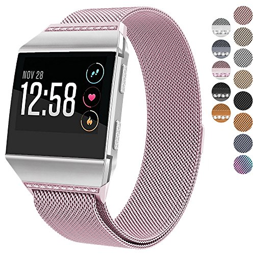 Xl Warm Metals (For Fitbit Ionic Bands, hooroor Magnetic Closure Clasp Mesh Loop Milanese Stainless Steel Metal Sport Band Accessories for Fitbit Ionic Smartwatch (Rose Pink Band with Pink Diamond, Small))