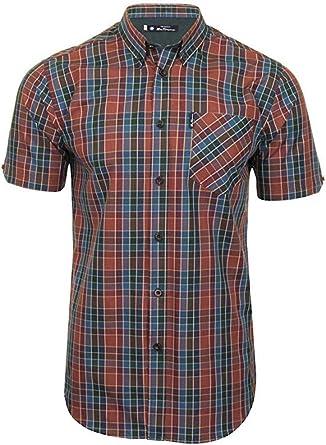 Ben Sherman - Camiseta de manga corta para hombre, diseño de cuadros Marrón Cinnamon 3XL: Amazon.es: Ropa y accesorios