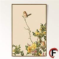 JJHR Stampe E Quadri Fiore Uccello Tela Dipinto Immagine Home Decor Wall Art Print Soggiorno Retro Pianta Vintage Decor Pittura