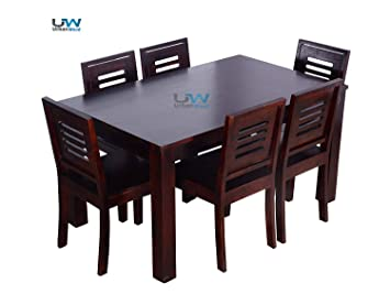 1982d60d3e22 UrbanWood Sheesham Wood Dining Table 6 Seater | 6 Chairs | Home Dining Room  Furniture