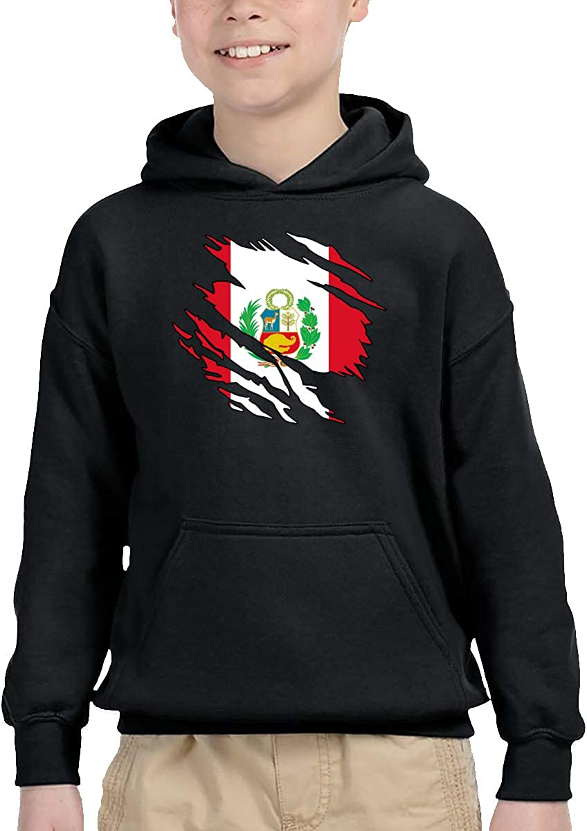 UGFGF-1S Ripped Peru Flag Children Boys Girls Long Sleeve Sweatshirts Pullover Hoodie 2-6T
