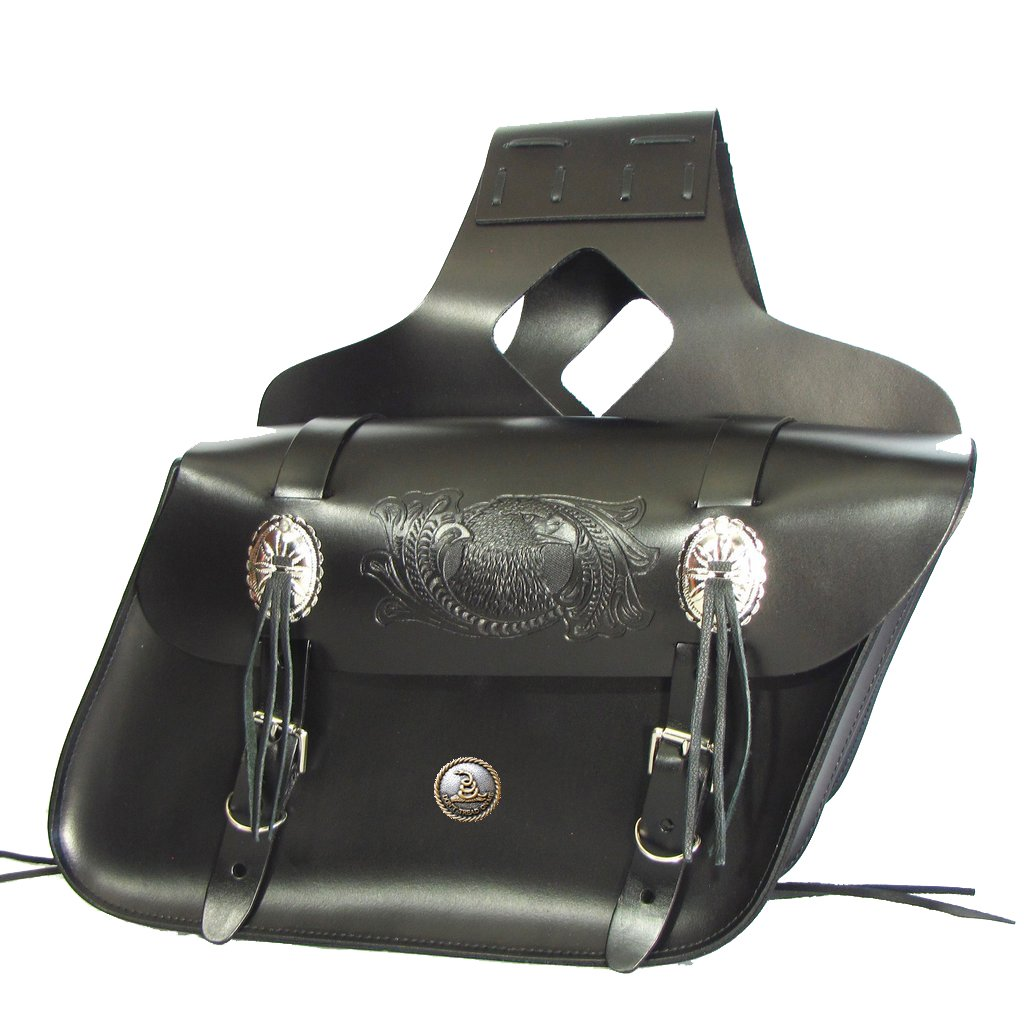 Custom Dont Tread on Me black saddlebags. MADE IN USA