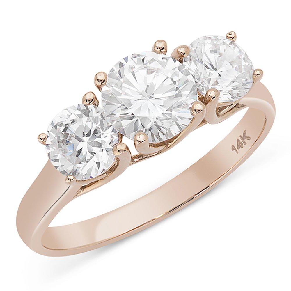 14K Rose Gold 1.9 cttw Round CZ Three Stone Wedding Aniversary Ring, 8