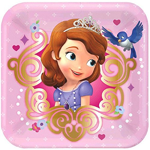 Disney Sofia The First Dessert Plates Princess Birthday Party Disposable Tableware and Dishware (8 Pack), Pink, (Sofia The First Paper)