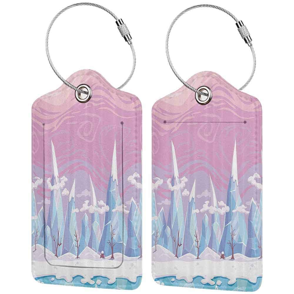 Flexible luggage tag Mountain Cartoon Fantasy Landscape Icy Frozen Snowy Hills and Leafless Trees Winter Scenery Fashion match Multicolor W2.7 x L4.6