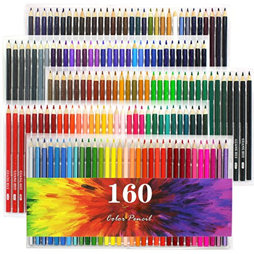 WOWENWO 160 Assorted Colored Pencils Set Oil Pencils for Student&Artist Sketching Drawing Writing / Adult Coloring Books (160)
