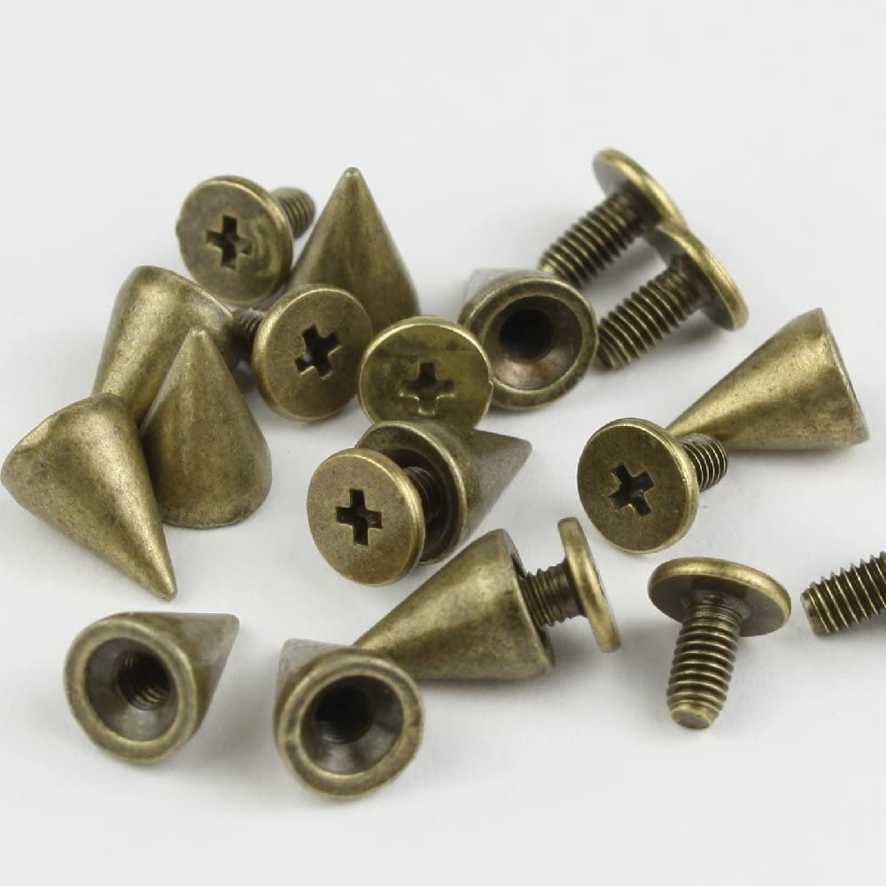 RUBYCA 100 Sets 10MM Bronze Color Bullet Cone Spike and Stud Metal Screw Back for DIY Leather-Craft