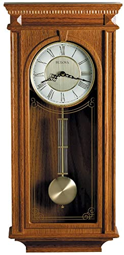 Bulova C4419 Manorcourt Chiming Clock, Golden Oak Finish, Brown