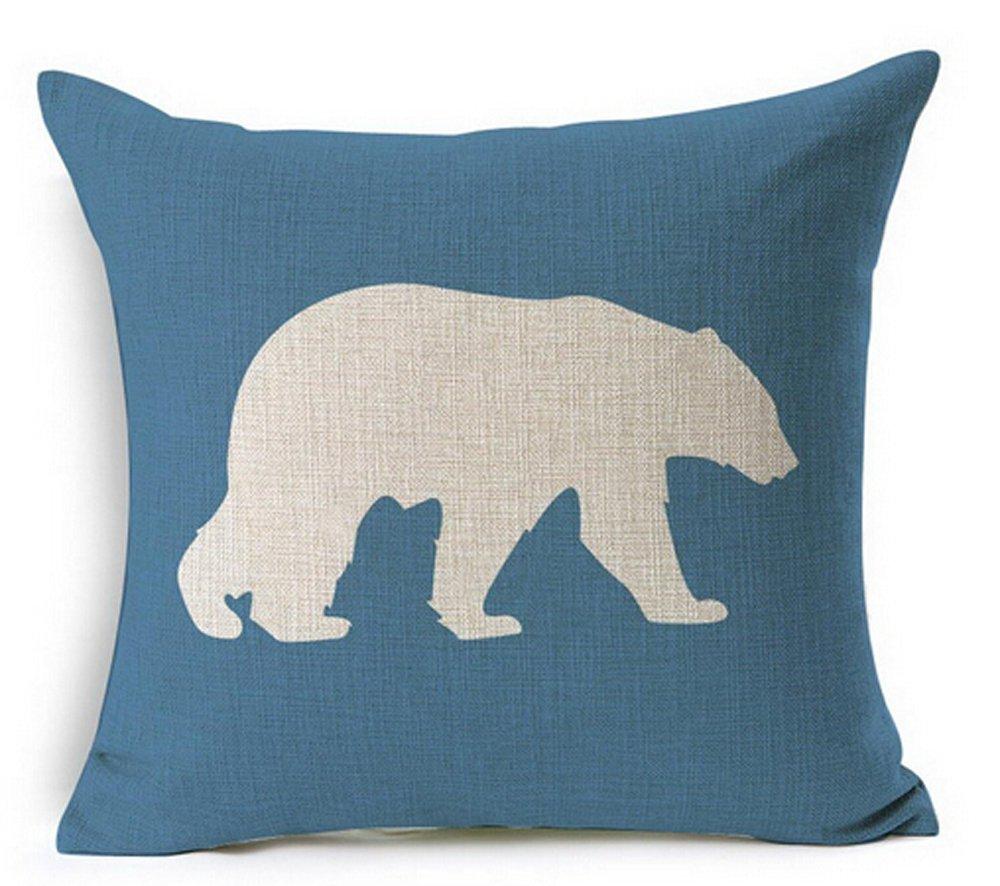 Animal Polar Bear Blue Background Cotton Linen Square Decorative Retro Throw Pillow Case Vintage Cushion Cover 18 X18