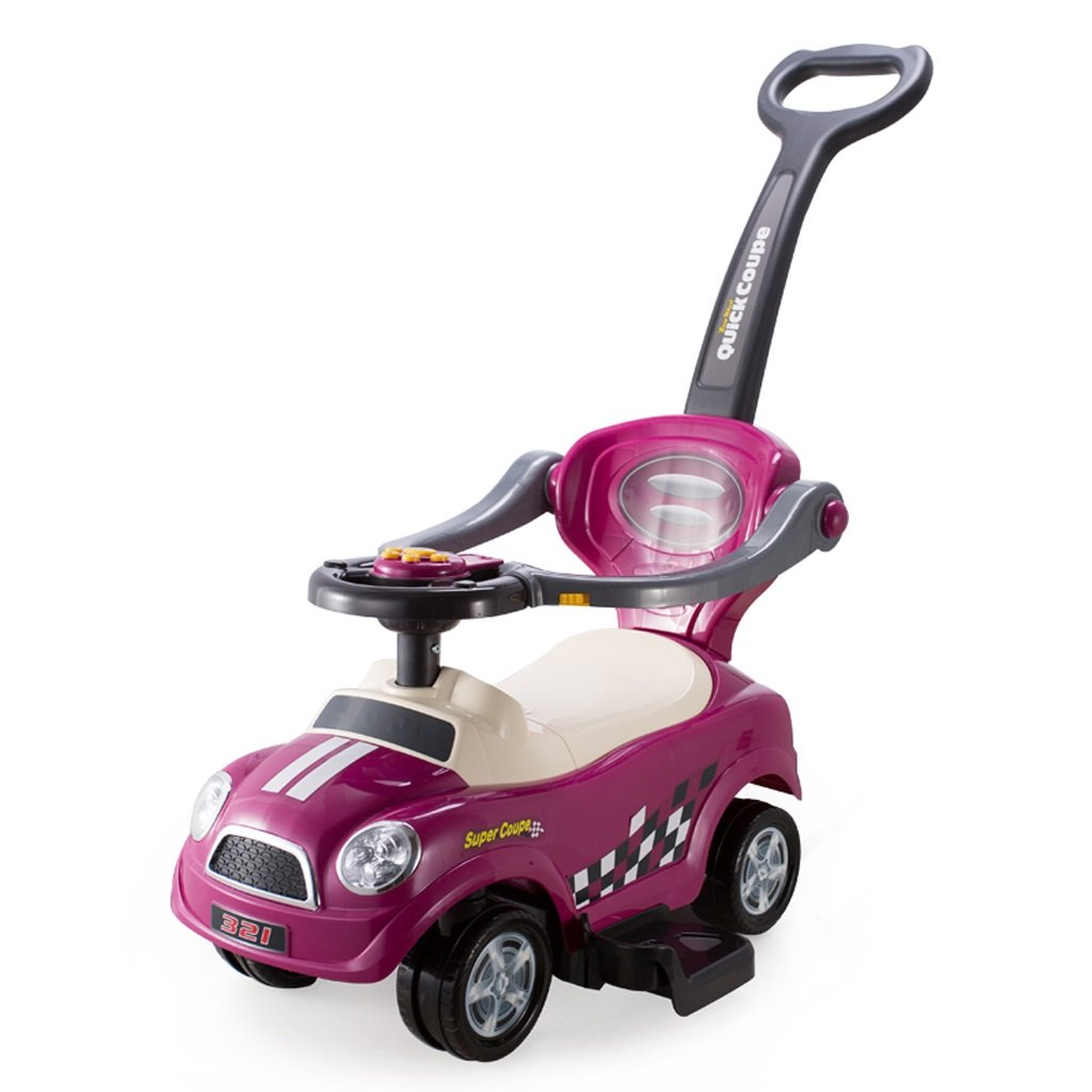 プッシュロッドレールでスクーターを押して子供のスライドブロックキャスターベビーツイストのおもちゃの車、バイオレット/赤/青、84.5 * 45.5 * 84.7センチメートル ( Color : Violet ) B07BX6WFFL