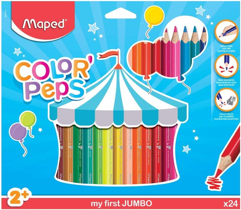 Maped Color Peps Jumbo - Pack de 24 lápices de colores: Amazon.es: Oficina y papelería