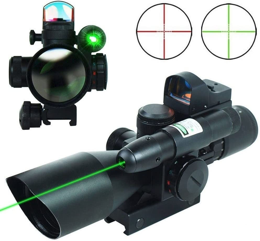 THEA 2.5-10×40 Tactical Rifle Scope Dual Illuminated Mil-dot W RED Green Light Sight, Rail Mount and 4 Reticle Red Green Dot Reflex Sight 12 Months Warranty