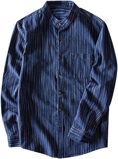 Camisas Hombre Manga Larga Rayas Camisa Lino Camisas con Botones Hombre Camisa Henley Manga Larga Camisetas Rayas Camisetas Lino Algodón Casual Camisas BuyO: Amazon.es: Ropa y accesorios