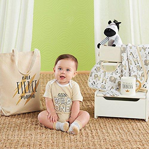 Baby Aspen Safari 9 Piece Baby Basket, Includes Safari Animal Themed Blanket, Bib, Onesie, Mitten, Socks, Stuffed Zebra, Mug, Tote, and Canvas Bin