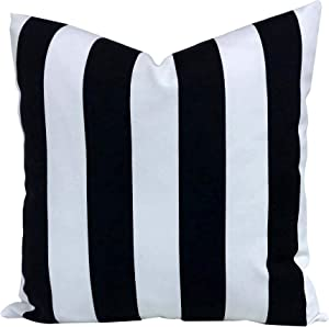 famibay Decorative Outdoor Pillow Waterproof Throw Pillows 18x18 Durable Polyester Patio Garden Cushion Weather Resistant for Rain Snow Sun (Stripe) (1, Black & White)