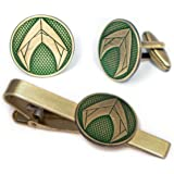 SharedImagination Aquaman Cufflinks, The Justice League Tie Clip, DC Comics Jewelry, Avengers Cuff Links Link, Marvel Tie Tac