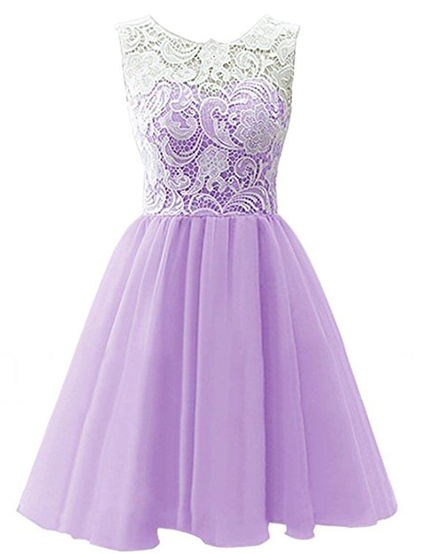 Light Purple YIRENWANSHA 2018 Short Homecoming Dress for Women Manual Lace Knee Length Formal Prom Gown YJW5