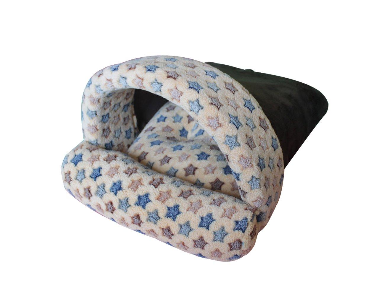 Brown L Brown L Hii-Yo Warm Cozy Pet Cave Nest Dog Cat Coral Fleece Flower Print Winter Sleeping Beds (Brown, L)