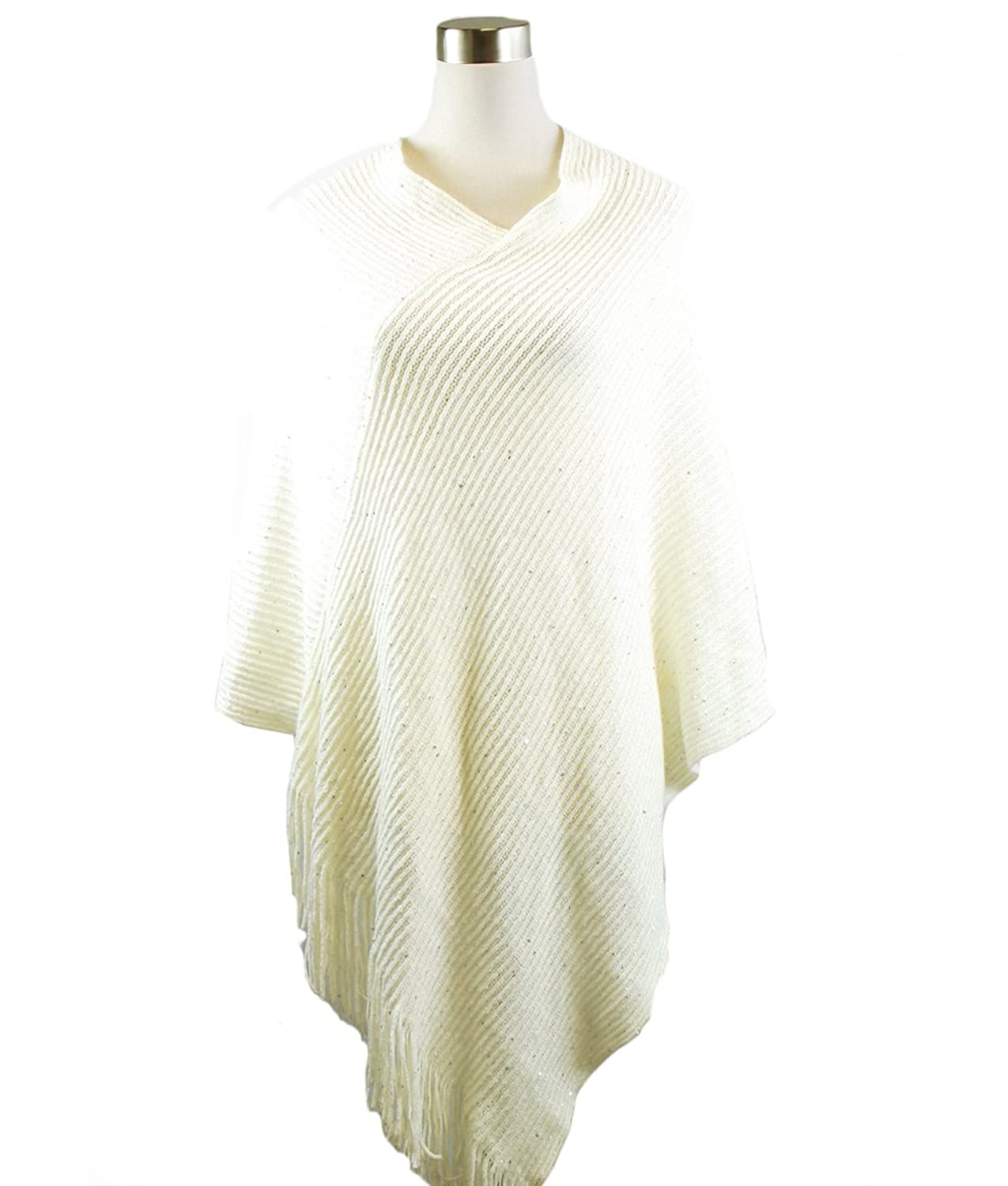 Modadorn New Arrivals Fall to Winter Solid Sequins Poncho Shawl
