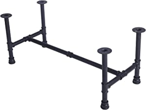 """MBQQ Black Rustic Diameter 1/2"""" Desk Leg,Industrial Pipe Decor Furniture Table Legs,Flanges and Pipes for Custom Vintage Tables and Furniture Decorations, DIY Kit with Hardware(L x W 17.7 x H 15.7"""
