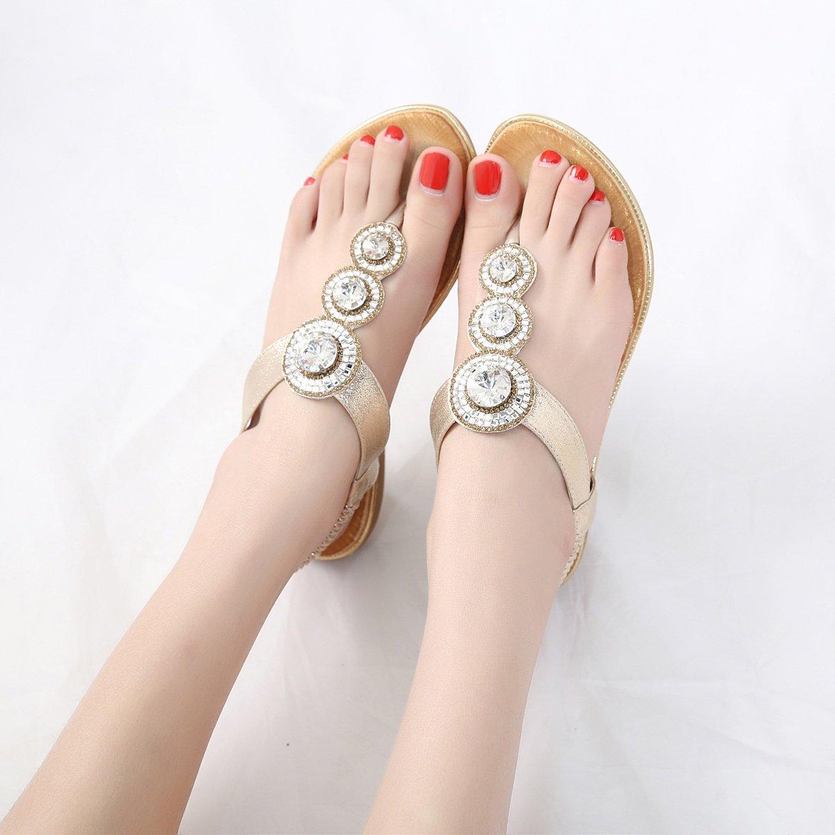 Meeshine Womens Flat Sandals Summer Rhinestone Comfort Bohemian Flip Flop Shoes Gold-02 US 8.5 by Meeshine (Image #6)