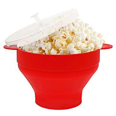 HIPPIH Silicone Microwave Popcorn Popper Collapsible Popcorn Maker Bowl with Lid